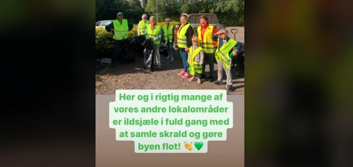 Borgmesteren kom forbi og roste vores frivillige affaldsindsamlere september 2020