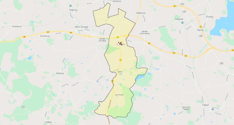 Kort over Kvanløse Sogns udstrækning