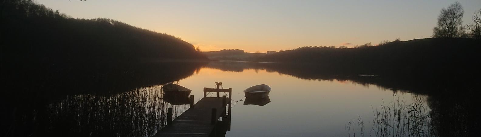 Solnedgang ved Maglesø en smuk efterårsdag